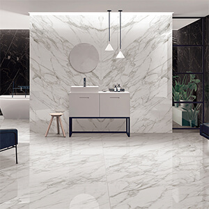 big tile for bathroom wall White Marble Large Bathroom Wall Ceramic Tile in Small Shower