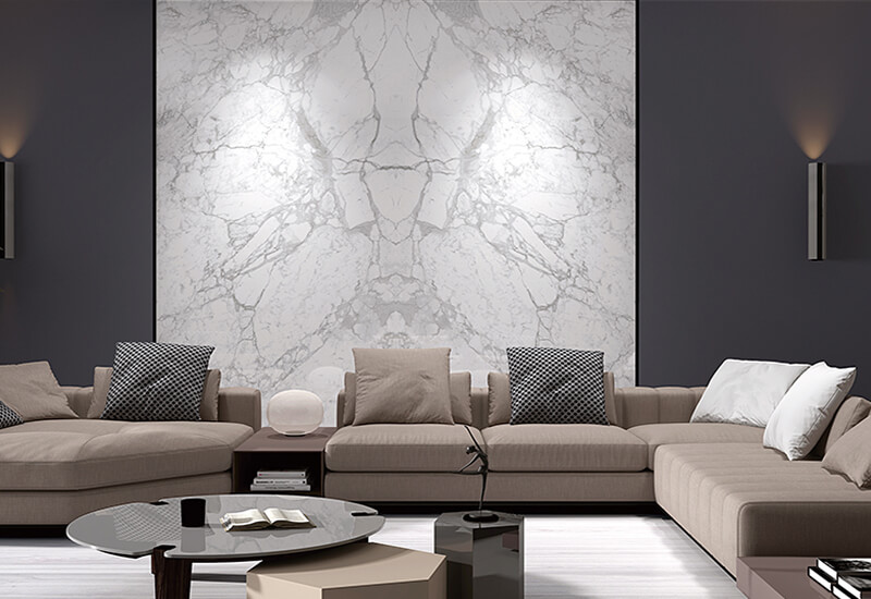 White Marble Large Format Tile Design - Book Match